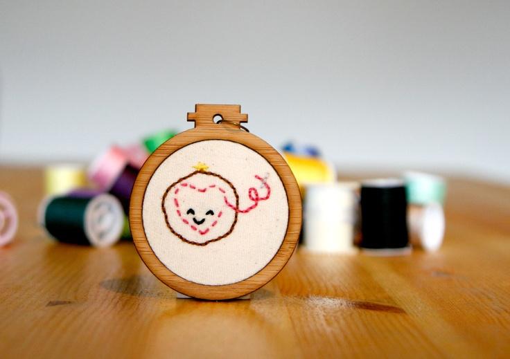 Happy Embroidery Hoop Pendant - whistlingteapot.com.au