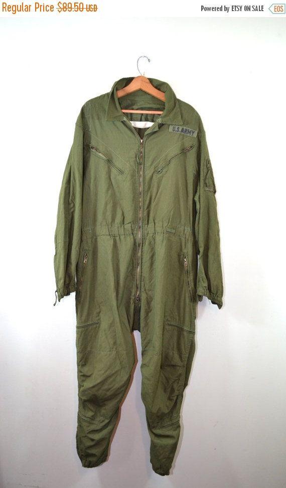 ON SALE Vintage Jumpsuit Coveralls US Army Coveralls Us Army Flight Suit Military Coveralls Flyers Jumpsuit Green Jumpsuit Xl Regular