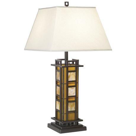 Lovely Arts u Crafts Amber Art Glass Night Light Table Lamp