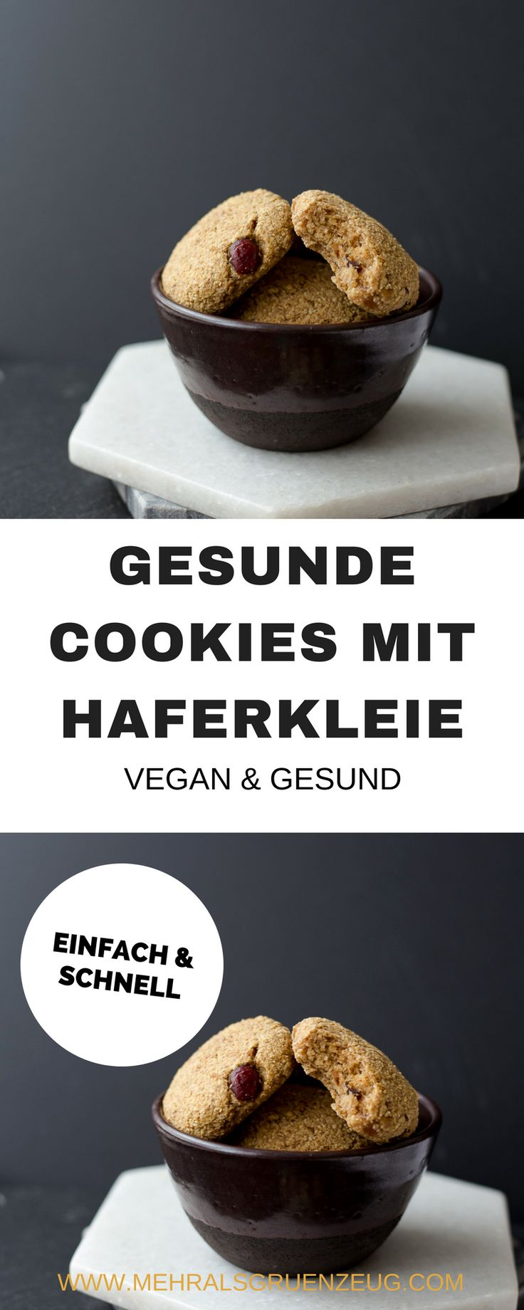 Vegane Kekse mit Haferkleie - schnell gemachte Hafer-Cookies ohne Zucker, Weißmehl und mit Datteln gesüßt. Leckeres, vollwertiges veganes Rezept.