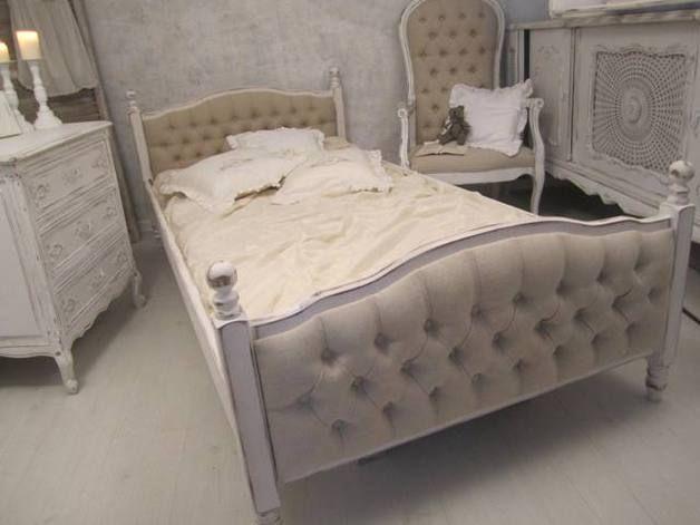 Lnem tapicerowane - łóżko pojedyncze retro shabby - Bombonierka - Łóżka