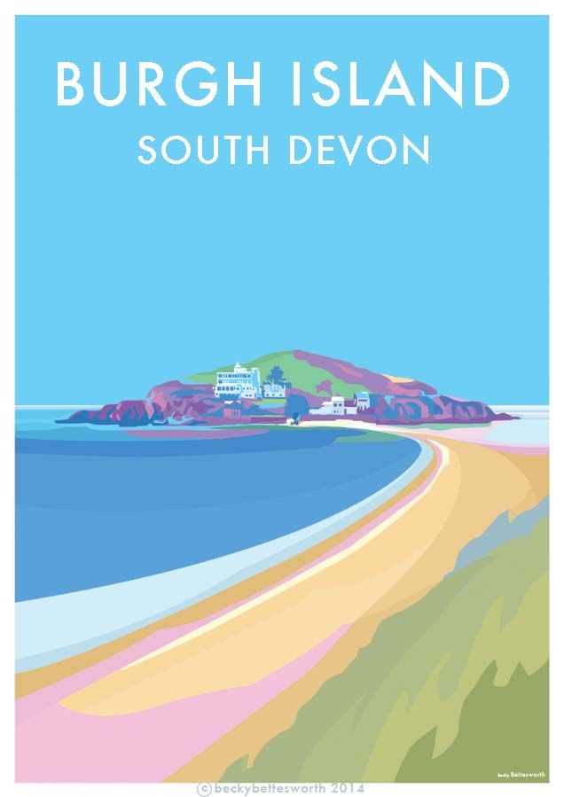 Vintage style travel poster of Burgh Island  seaside posters available at www.beckybettesworth.co.uk Batham Bigbury and Burgh Island in Devon. Created by Devon Artist Becky Bettesworth