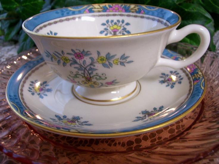 Vintage Retired LENOX China \'Blue Tree\' Pattern 24KT Gold Trim   Tea ...