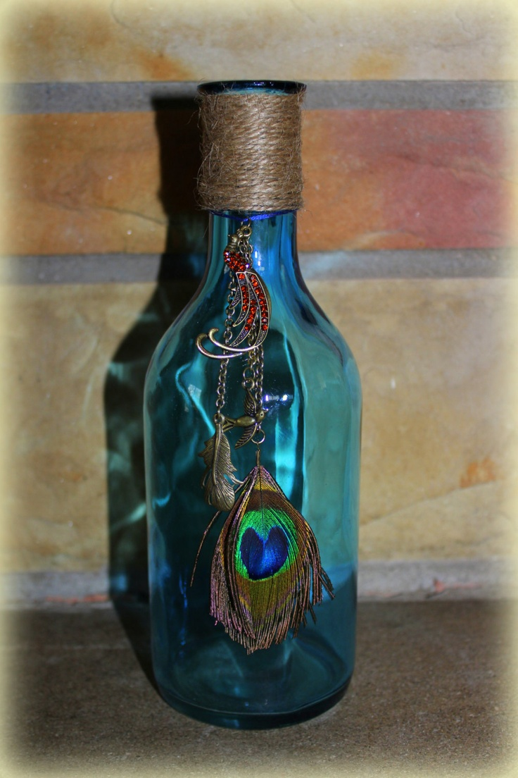 24 best home decor diy images on pinterest peacock feathers indigo blue turquoise glass bottle vintage look mason vase with peacock birds charms accents for flowers home decor unique mothers day gifts