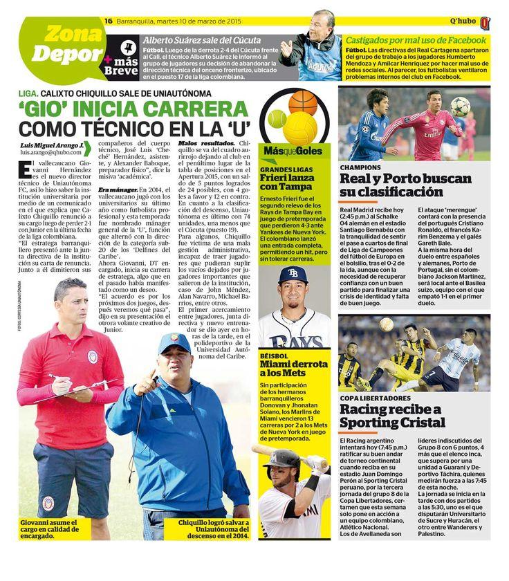 'Gio' inicia carrera como técnico en la 'U'. Textos: Luis Miguel Arango J. Empresa: Q'hubo Barranquilla.