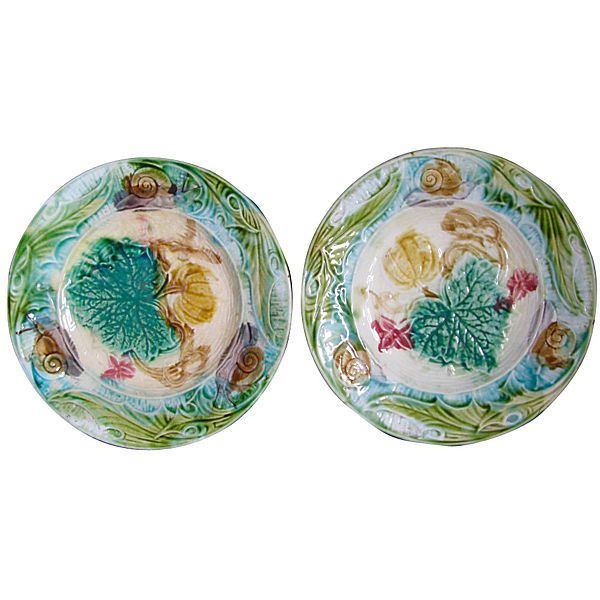 Pre-Owned Pair of Majolica Snail Plates C.1890 ($325) ? liked  sc 1 st  Pinterest & The 50 best majolica images on Pinterest | Porcelain Dishes and ...