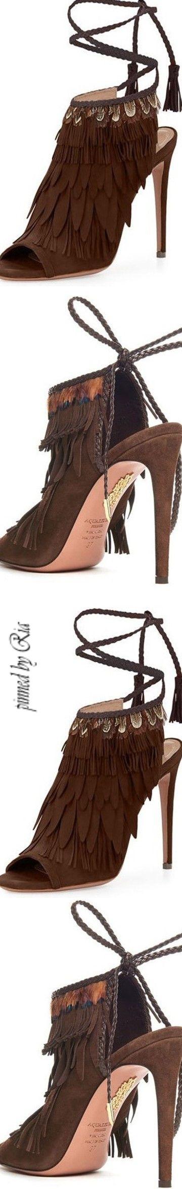 Diamond Cowgirl - Aquazzura Fringed Suede Ankle Tie Sandal l Ria