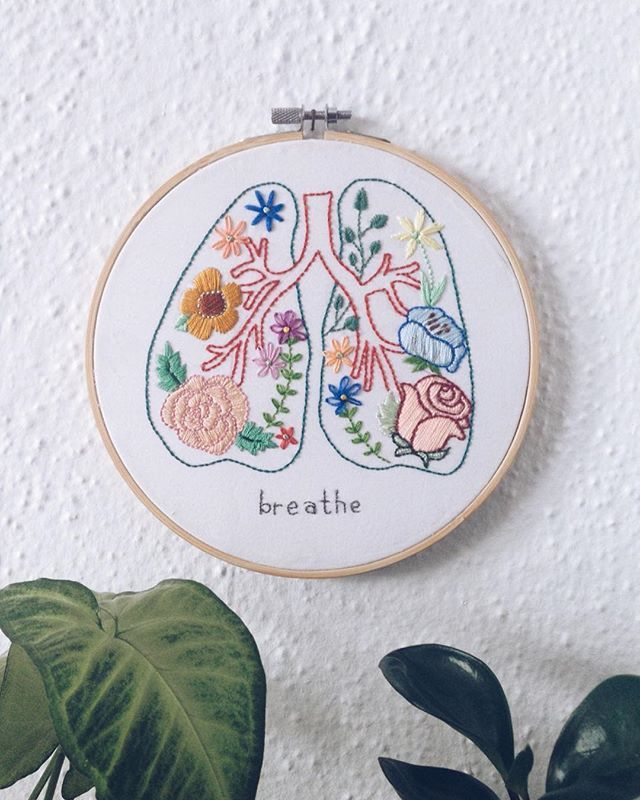"""I felt my lungs inflate with the onrush of scenery—air, mountains, trees, people. I thought, This is what it is to be happy."" (Plath)  My first go at embroidery. A gift for my beloved friend, Kerrie, who also inspired the original design."