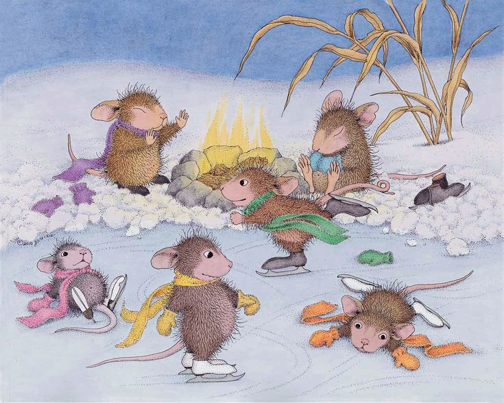 картинки веселые мышки зимой расписывают красивым узором