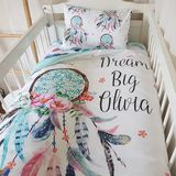 """.  Stunning Pink & Aqua """" Dream Catcher ~ with Dream Big Little One quote"""" Cot Quilt.    The reverse side is aqua to match.    This 100% cotton quilt will keep your little one comfy and warm all year round. It is soft and is ideal for a cot or would also look great used as a throw on a bed.  It comes with a fitted medium warmth, soft quilt insert.    Size approx. 105cm x 90cm     Easy Care: Cold machine wash,line dry.    Cot Quilt Only.  If you would like to purchase the quilt &..."""
