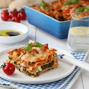 Vegetarlasagne med spinat og feta