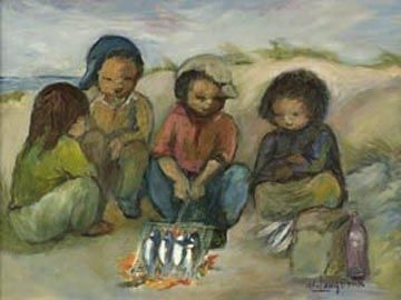 Children Braaing Fish Behind the Dune by Amos Langdown -Photolithography Re-production | Dante Art Gallery