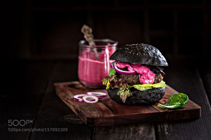 Pic: Homemade Black Burger with Berry Aioli