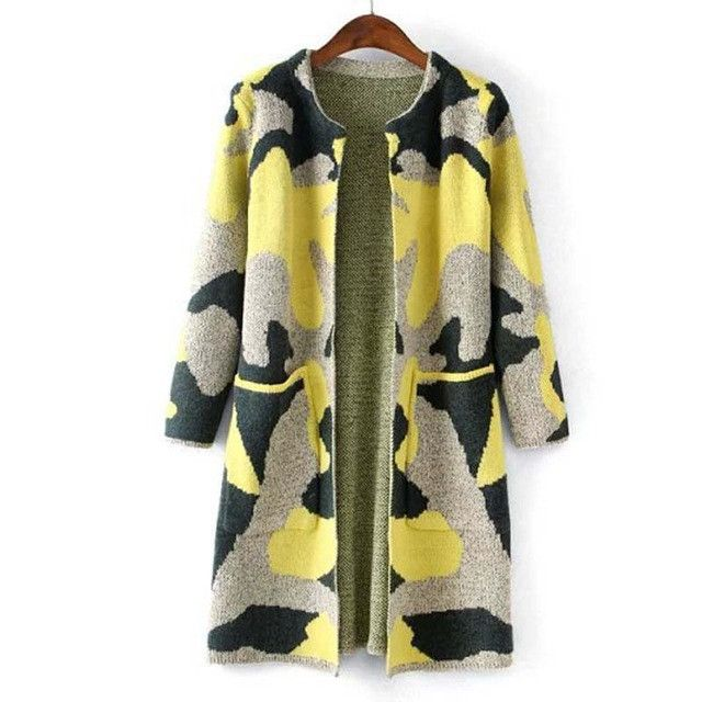 Army Style Long Sleeve Sweater Women Autumn Winter Fashion Camouflage Long Female Sweater Cardigan Women's Trench Sweter Mujer