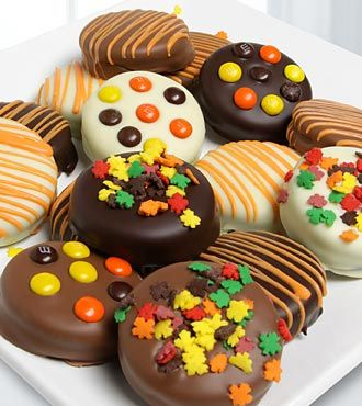 Golden Edibles™ Fall Belgian Chocolate Covered Oreos® so simple so cute @Stacey Michele