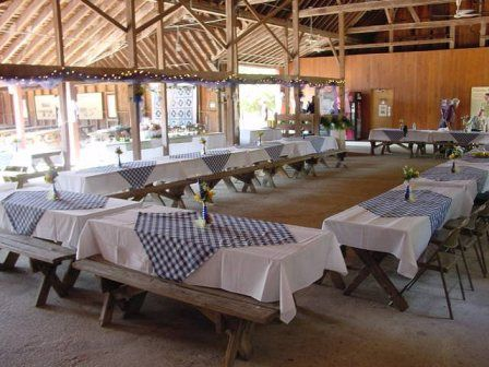 Picnic themed wedding reception. I love the simplicity. But not sure if having a checkered pattern would work....
