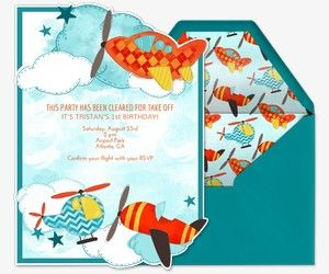 Adorable Airplane Invitation From Evite Babys 1st Birthday Ideas