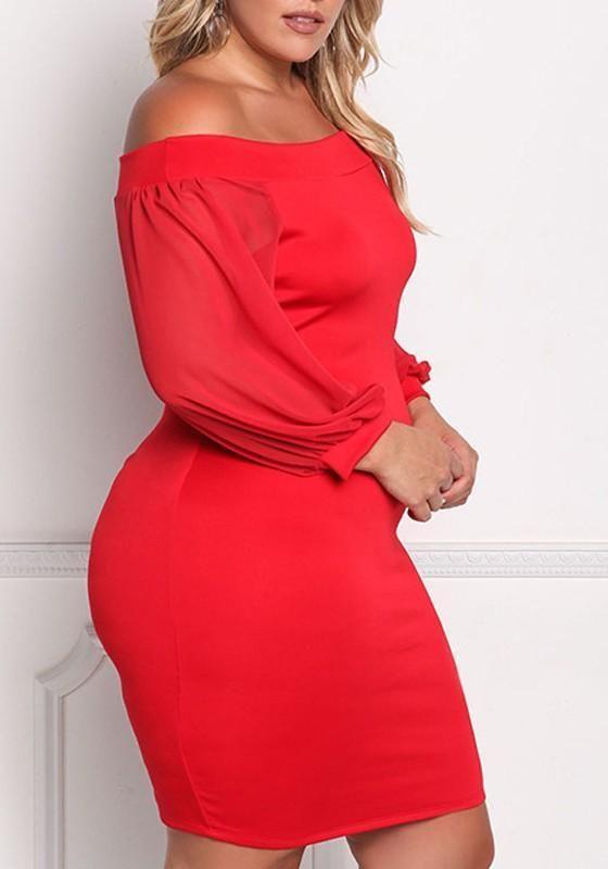 1f8de022c625 Red Bandeau Off Shoulder Blackless Long Sleeve Bodycon Banquet Formal Midi Dress  Red Off Shoulder Dress