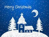 Weihnachten Kirche mit Schnee in der Nacht — Stockillustration #12809667