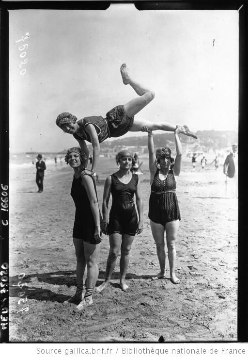Group of girls on the beach in Deauville. French National Library, Public Domain