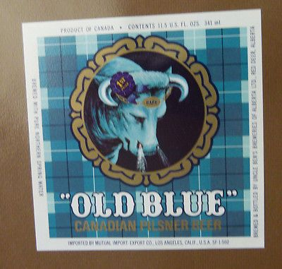 VINTAGE CANADIAN BEER LABEL - ROCKY MOUNTAIN BREWERY, OLD BLUE PILSENER 11 FL OZ