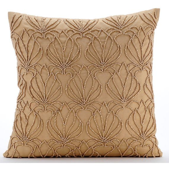 handmade gold decorative pillows cover beaded lotus pattern pillows cover square 18x18 - Decorative Bed Pillows