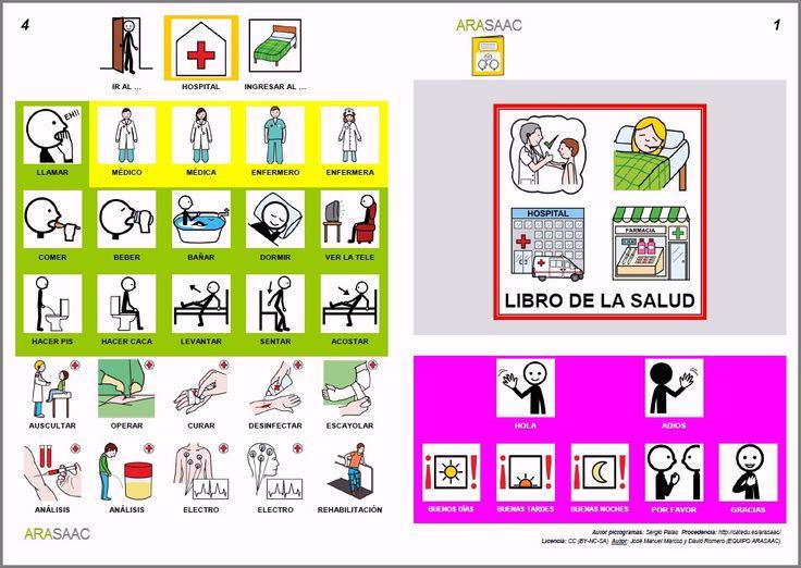 Libro de comunicación aumentativa y alternartiva sobre la salud y la enfermedad (Autores: J. M. Marcos y D. Romero). Pictogramas ARASAAC (por Sergio Palao).