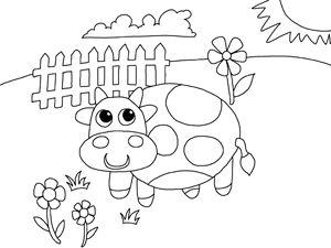 Sayfayı boyama çiftlik çocuklar ücretsiz yazdırılabilir İnek