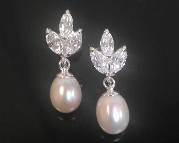 Wedding Earrings - Floral Crystal With Freshwater Pearl & Sterling Silver Earrings, Elena