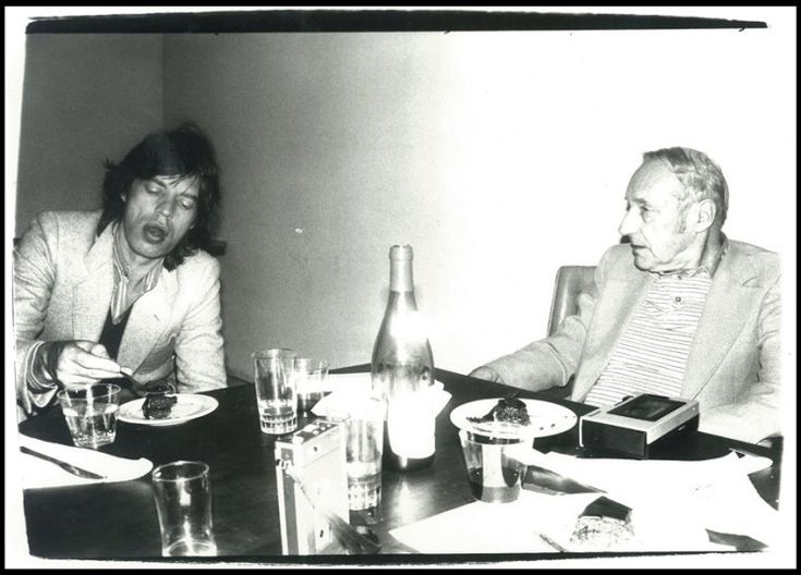 mick and william burroughs photo by andy warhol