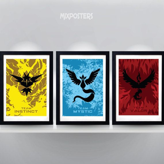 POKEMON GO TEAMS  MysticInstinct Valor Triple poster by MixPosters