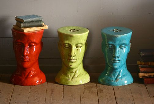 This would be so nice in the garden! ceramic head stool ...