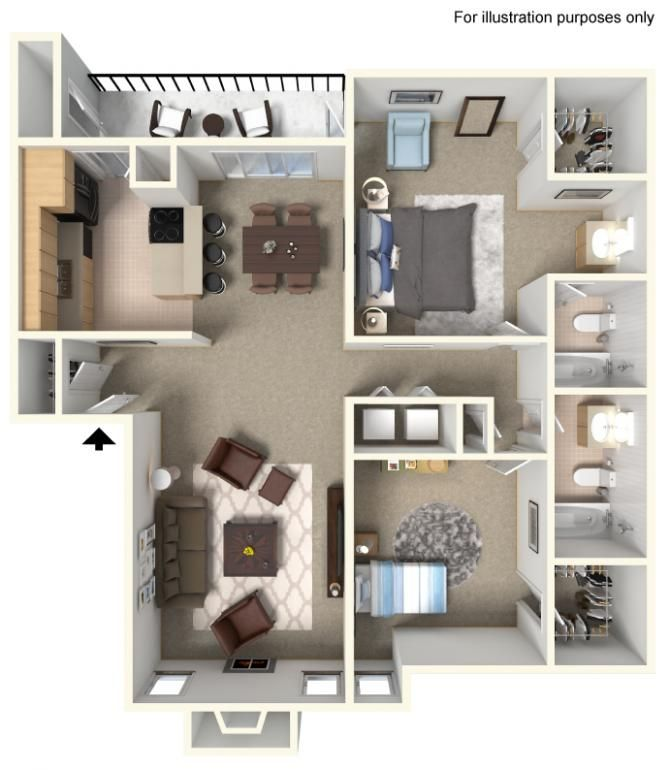 You'll know exactly how our apartments are laid out with these floor plan models.