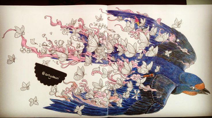 WIP imagimorphia colouring book faber castell colouring pencils
