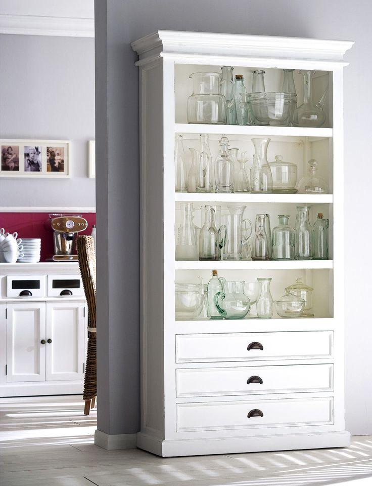 Danish Furniture   White Painted Mahogany Bookcase w/ 4 Shelves.   H11997