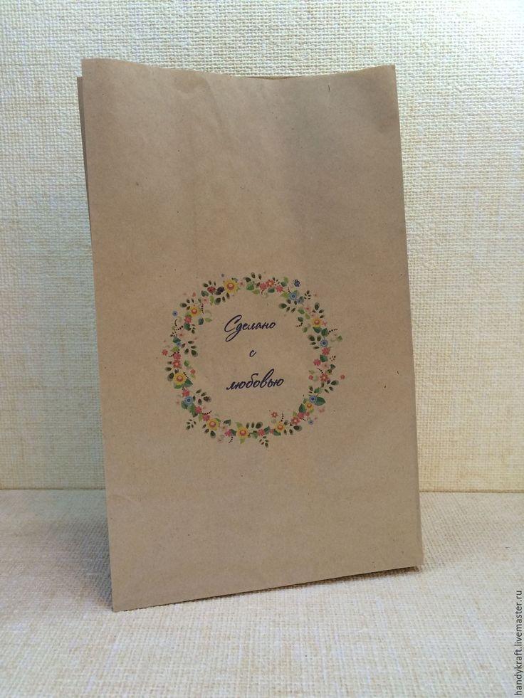 Купить Крафт-пакет с рисунком 18х29 см - бумажный пакет, пакет для мыла, пакет для подарка