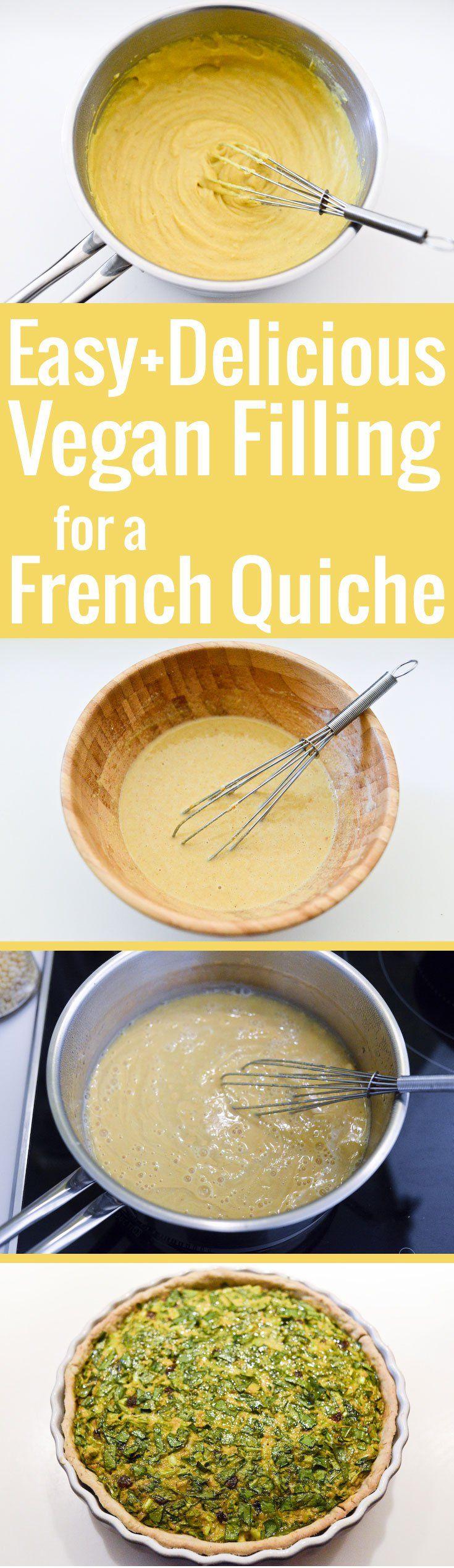 Une recette facile et délicieuse pour préparer un appareil à quiche vegan à base de farine de pois chiche.
