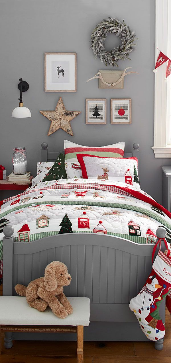 Holiday decorating isn't just about the tree. Give your little one's bed a playful dose of 'tis the season style with plenty of cozy layers. Festive sheets, pillows and quilts add a warming touch of holiday cheer that will inspire dreams of sugar plums, gingerbread and rooftop reindeer.
