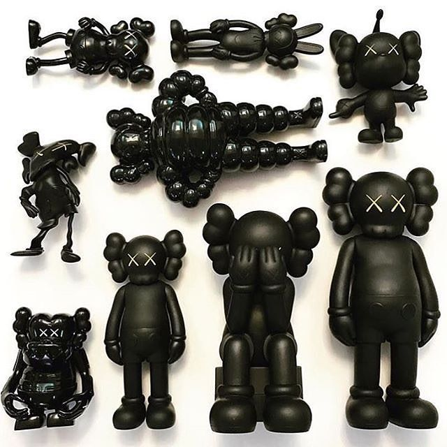 All black @kaws toy collection. 📸: @kawsfjscc