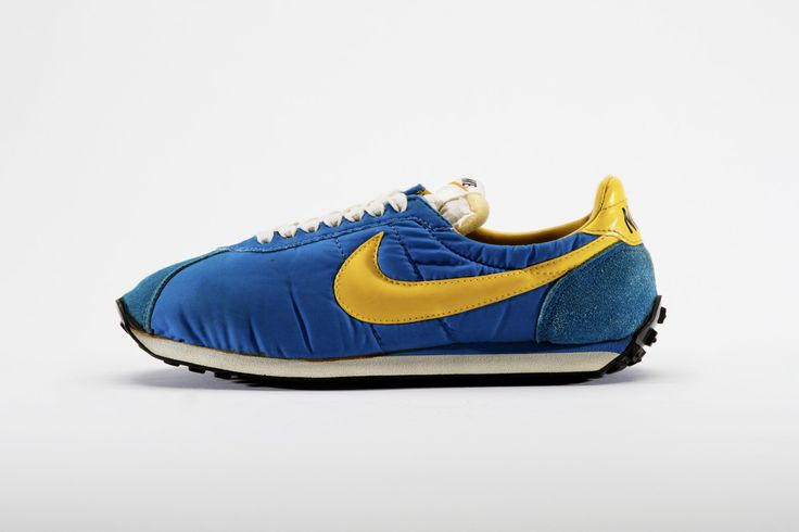 Nike Waffle Trainer, 1974. In his quest to make lightweight running shoes, Olympic track coach and Nike co-founder Bill Bowerman was constantly trying to make improvements. In 1965, in collaboration with Jeff Johnson, he invented nylon uppers and cushioned insoles for running shoes but it wasn't until he destroyed his wife's waffle-maker that he managed to revolutionize the running shoe. His famously lightweight Nike Waffle Trainer debuted in 1974. Collection of Northampton Museums