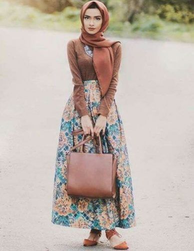 floral puffy maxi skirt- Casual chic hijab 2016…