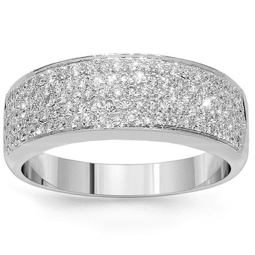 This classy womens wedding band is pave set with numerous small round cut diamonds which are carefully placed half way around the band. The 18K White Gold band contributes to its gleaming appearance. This elegant womens wedding ring is an ideal gift for that special day. $2,171.00