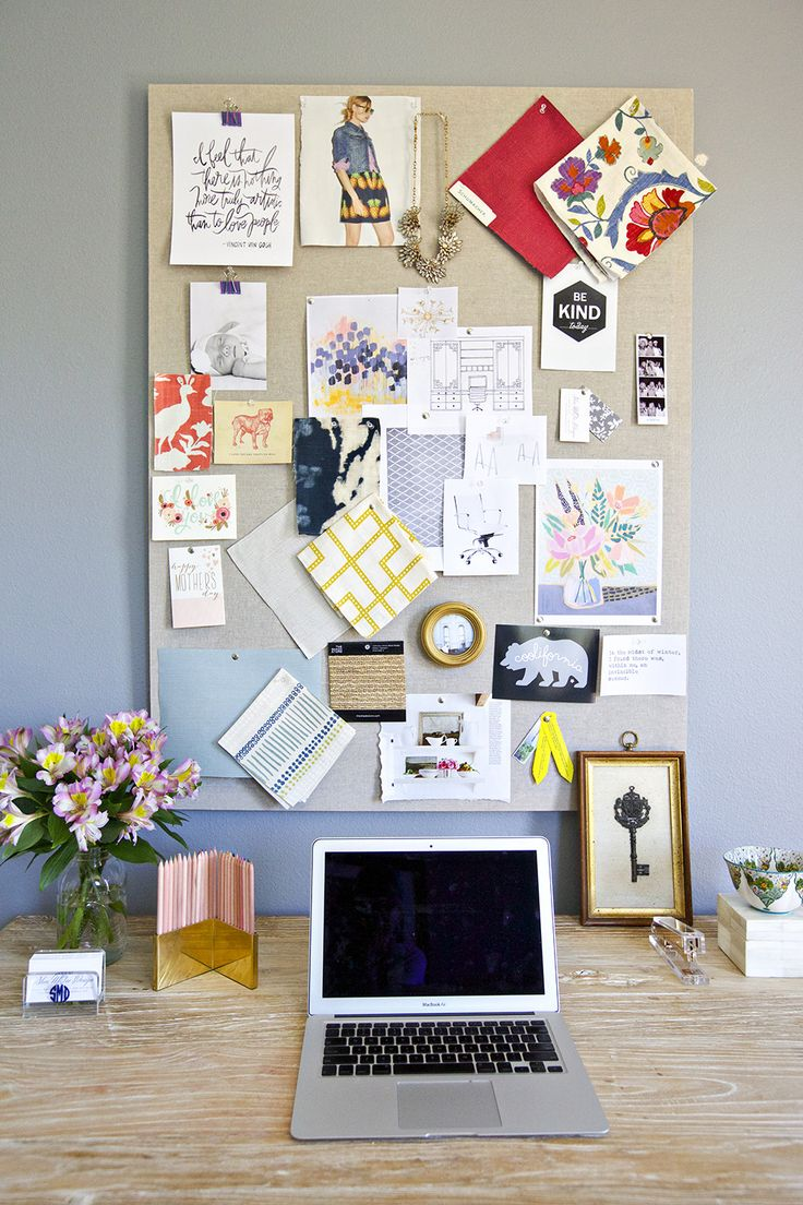 An inspiration pinboard for the office. I LOVE that stapler as well :)