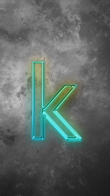 Neon Blue Letter K