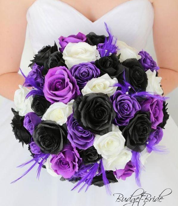 Purple And Black Wedding Bouquet With Feathers Silk Flowers Wedding Purple Wedding Theme Bridal Wedding Flowers