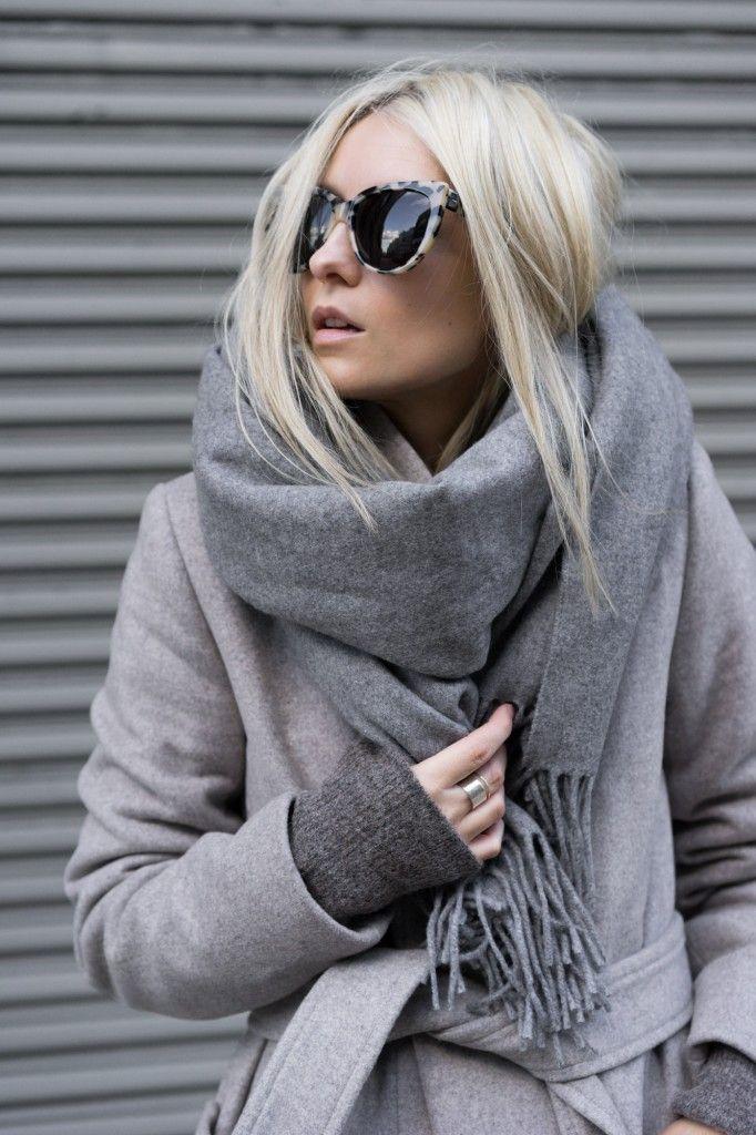 monochrome styling; big scarf: