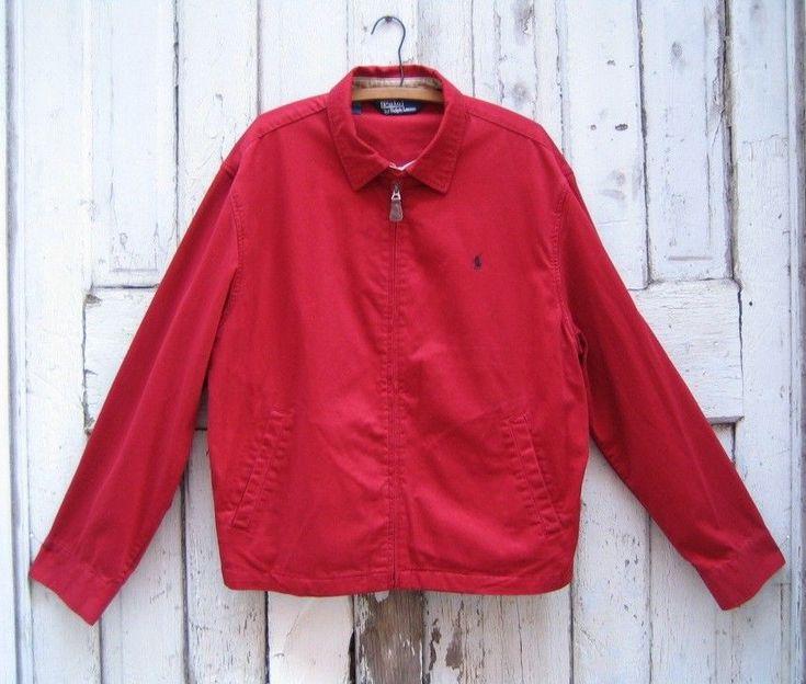 POLO Ralph Lauren RED Windbreaker Jacket Mens XL100% Cotton #PoloRalphLauren #Windbreaker