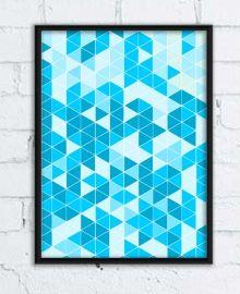 Plakat z grafiką w trójkąty