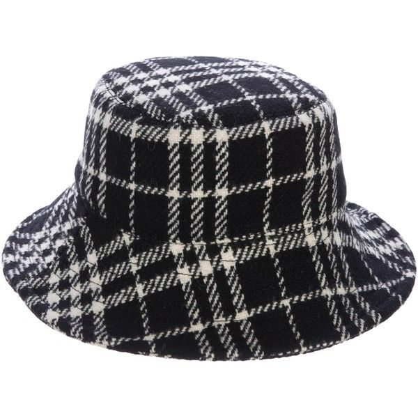 Pre-owned Burberry London Plaid Bucket Hat ($145) ❤ liked on Polyvore featuring accessories, hats, black, burberry hat, plaid hat, fishing hats, bucket hat and fisherman hat