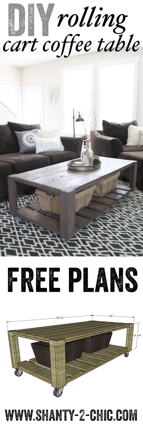 Love this DIY Crate Coffee Table on Wheels! Perfect project to recycle old pallet wood too! Free plans at www.shanty-2-chic.com